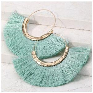 !!NEW!! Mint/Aqua tassel hoop earrings!!